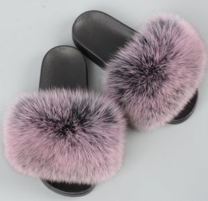 SLIPPERS FOX FUR BLACK 40  SIZE